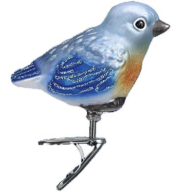 """Baby Bluebird Clip on Bird Christmas Ornament 18093 Merck Family's Old World Christmas Introduced 2011 Measures approximately 2 3/4"""" Mouth blown, hand painted, glass Christmas Z"""