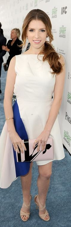 Who made Anna Kendrick's white print dress, nude sandals, and jewelry that she wore in Santa Monica on March 1, 2014?