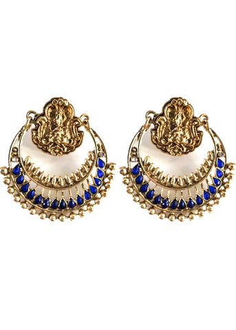 Ram Leela   Tyche London  £16 gold and blue statement indian earrings as featured by Deepika Padukone in the bollywood film Ram Leela