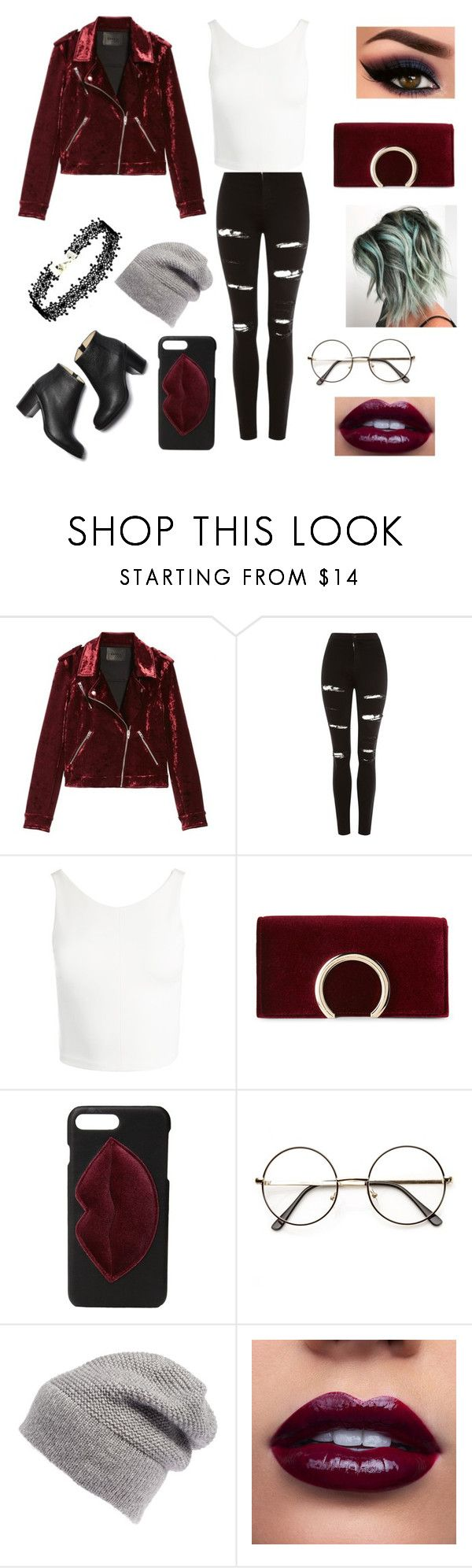 """""""Leather jacket"""" by b-a-volland ❤ liked on Polyvore featuring BLANKNYC, Topshop, Sans Souci, Jessica McClintock, Kendall + Kylie and Rebecca Minkoff"""