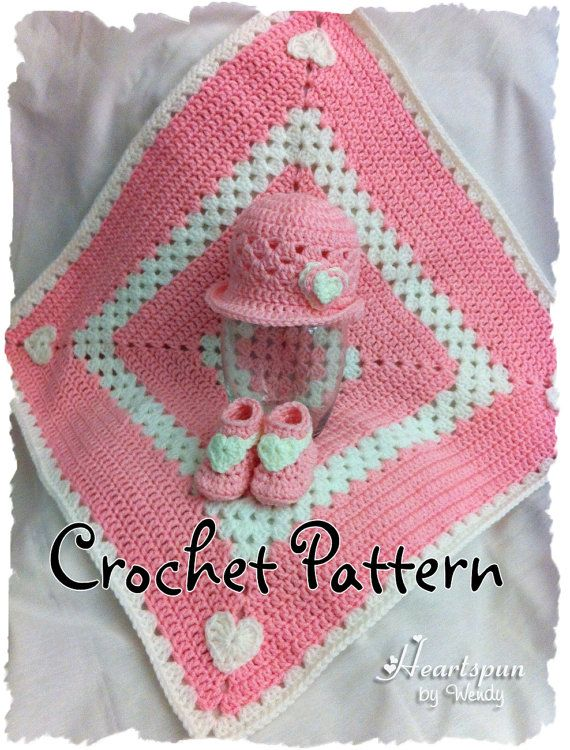 Free Crochet Patterns On Etsy : Sweet Hearts Baby Hat, Booties and Blanket Set CROCHET ...