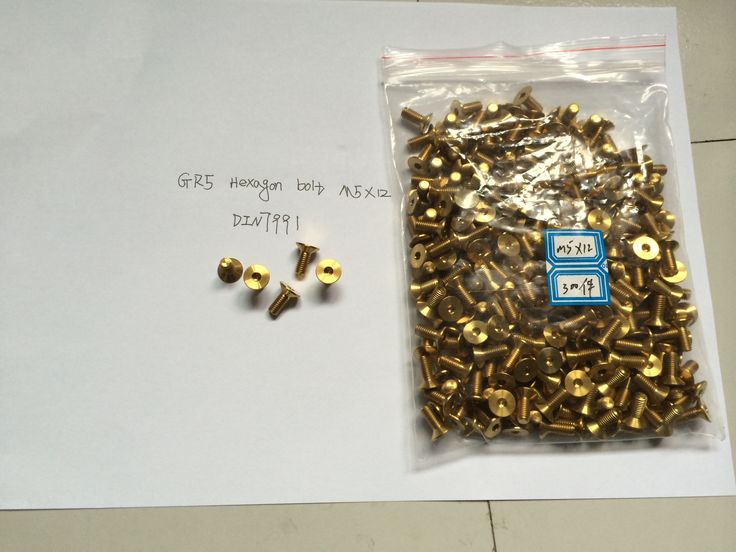 GR5 Hexagon countersunk bolt gold in color: M5*12  DIN7991