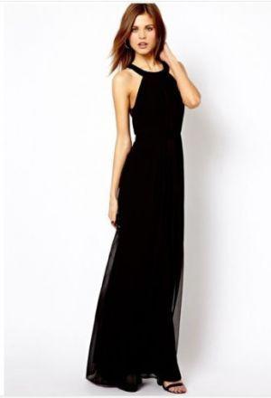 Černé dlouhé šaty bez rukávů