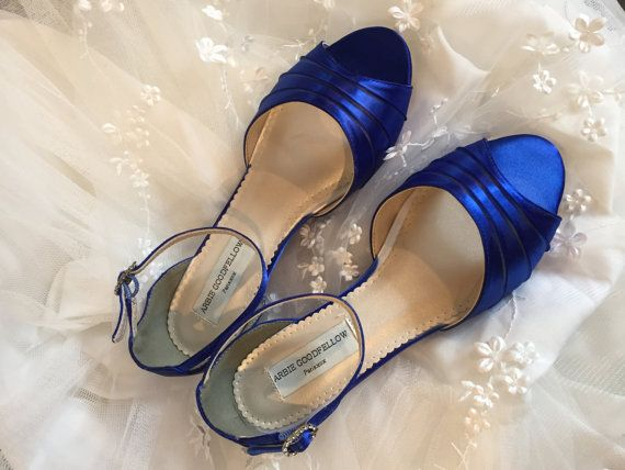 Royal Blue Wedge  Royal Blue Wedding Shoes   Wedge  by Parisxox
