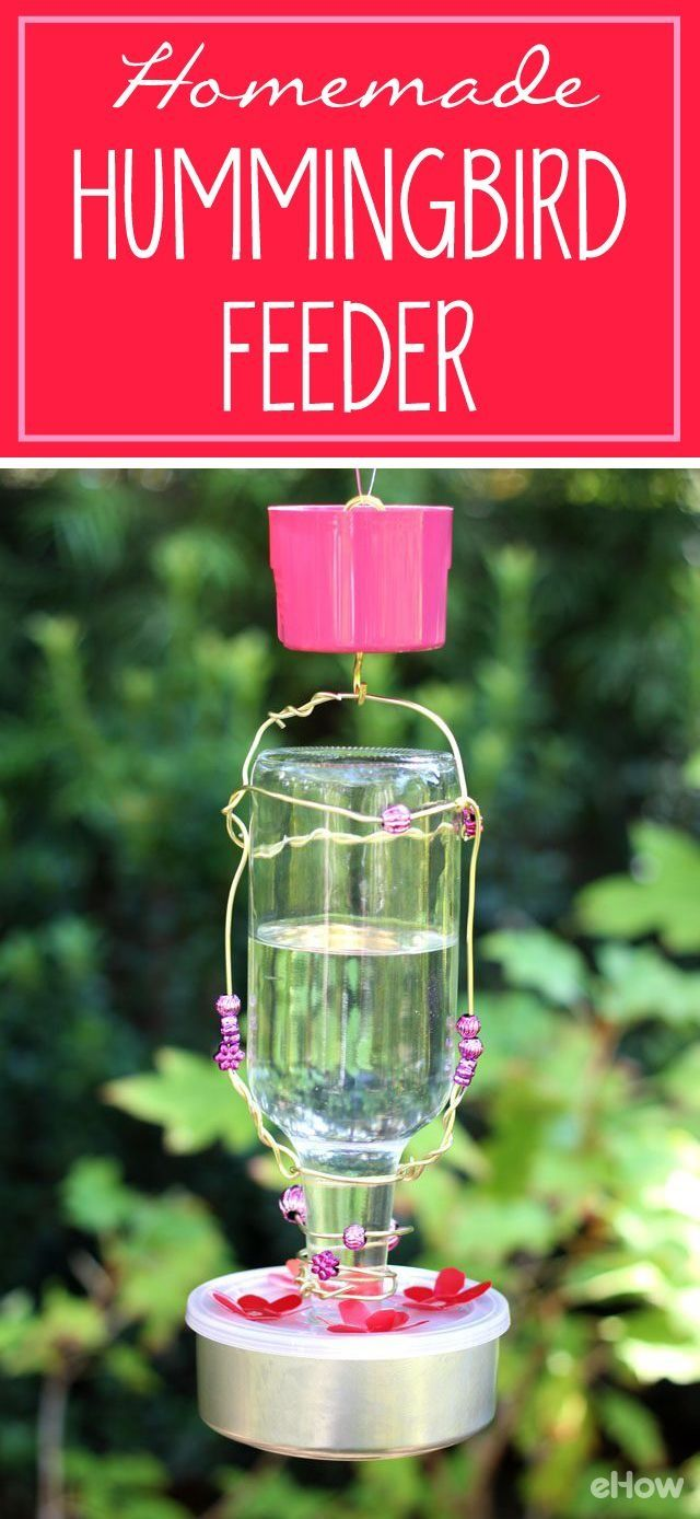 "Your garden, patio or front porch needs this! Made with a used glass bottle and other household materials, it's easy and inexpensive to assemble. There's even an ""ant moat"" to keep ants away from the sugar water in the feeder reservoir.  DIY: http://www.ehow.com/how_5176840_make-homemade-hummingbird-feeder.html?utm_source=pinterest.com&utm_medium=referral&utm_content=freestyle&utm_campaign=fanpage"