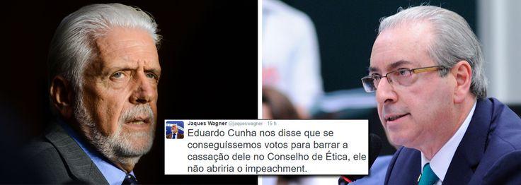 """Pelo Twitter, o ex-ministro da Casa Civil do governo Dilma conta que Eduardo Cunha, então presidente da Câmara, disse aos petistas """"que se conseguíssemos votos para barrar a cassação dele no Conselho de Ética, ele não abriria o impeachment. E nós respondemos: 'Bote o impeachment quando você quiser, mas você terá que responder pelos seus erros'""""; Jaques Wagner diz ainda que, """"esse impeachment, se de fato ocorrer, não terá nada a ver com as chamadas pedaladas fiscais e muito menos com o…"""