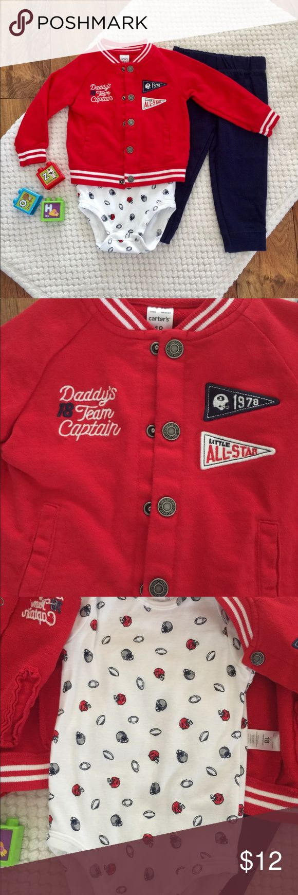 CARTER'S Baby Boy Football Jacket Outfit CARTER'S Baby Boy Football Jacket Outfit. Excellent condition baby boy outfit. Daddy's team captain. Football onesie, jacket, and bottoms. Size 18M. Bundle your likes for a private offer Carter's Matching Sets