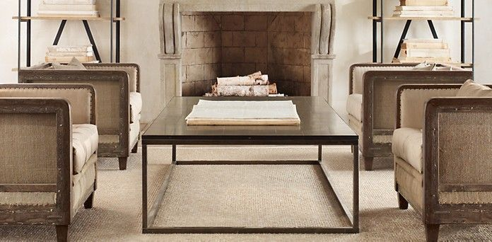 13 best images about parquet tables on pinterest ralph lauren industrial and squares - Small spaces restoration hardware set ...