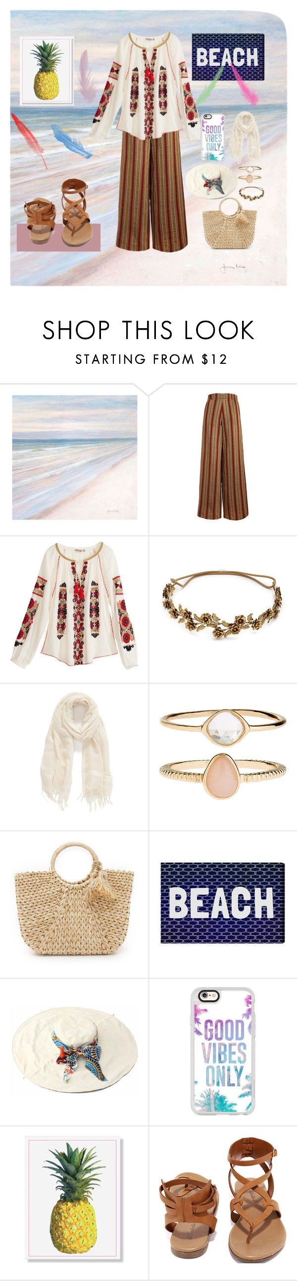 """Hijab Summer Outfit"" by datenusa on Polyvore featuring Calypso St. Barth, Jennifer Behr, Caslon, Accessorize, Hat Attack, Oliver Gal Artist Co., Casetify and Breckelle's"