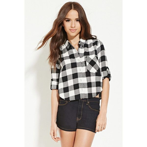 Forever 21 Women's  Boxy Plaid Shirt ($18) via Polyvore featuring tops, white shirt, white button up shirt, long sleeve button up shirts, long sleeve shirts and long-sleeve shirt