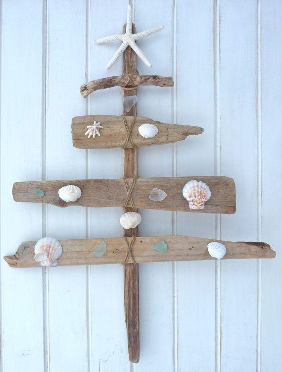 Rustic driftwood christmas tree seaglass shells starfish for How to make a hanging driftwood christmas tree