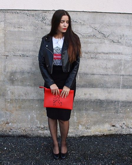Get this look: http://lb.nu/look/8871395  More looks by Pretty-Roxanne Stratmains ☥: http://lb.nu/prs  Items in this look:  Store De Paris White Tee Shirt, Bershka Black Perfecto, Mosquitos Black Long Skirt, Kenzo Red Bag, H&M Black Heels   #chic #classic #elegant #storedeparis #deparis #hm #mosquitos #lahalle #princess