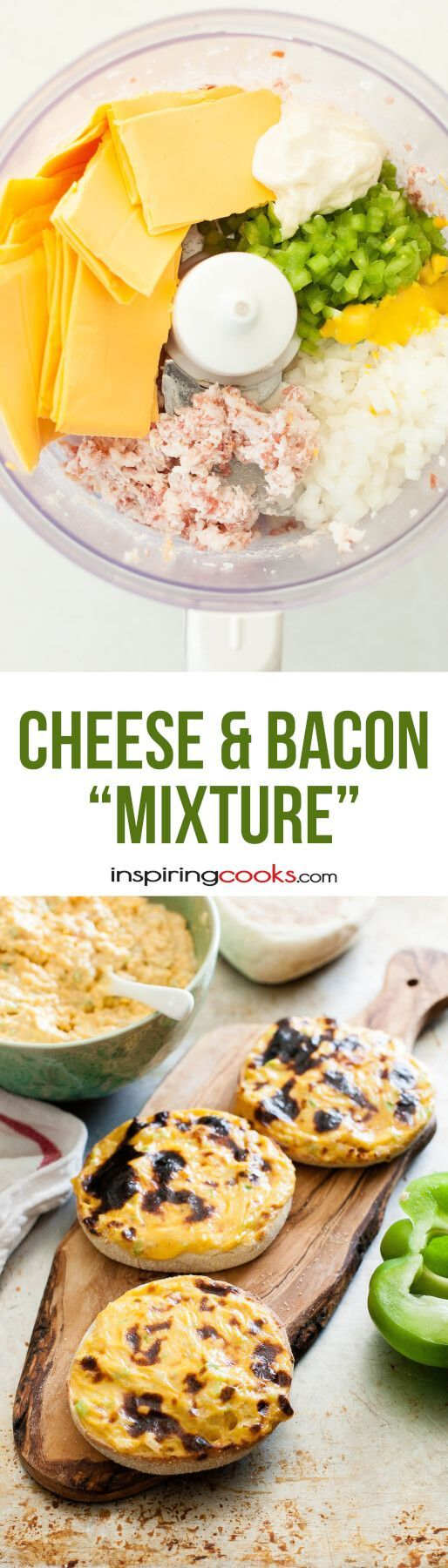 Cheese and Bacon Mixture Recipe. My kids LOVE this stuff. All I do is blend bacon, cheese, onions, peppers, mayo. and mustard together, put on an English muffin and broil them. I make a batch and keep it in the fridge and then whenever my kids want a snack or lunch, they throw it in the toaster oven and have hot, fresh food.