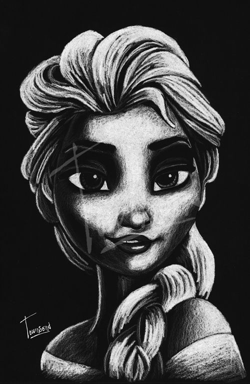 """""""The Cold Never Bothered Me Anyways!"""" - 12x12 white charcoal on black paper."""