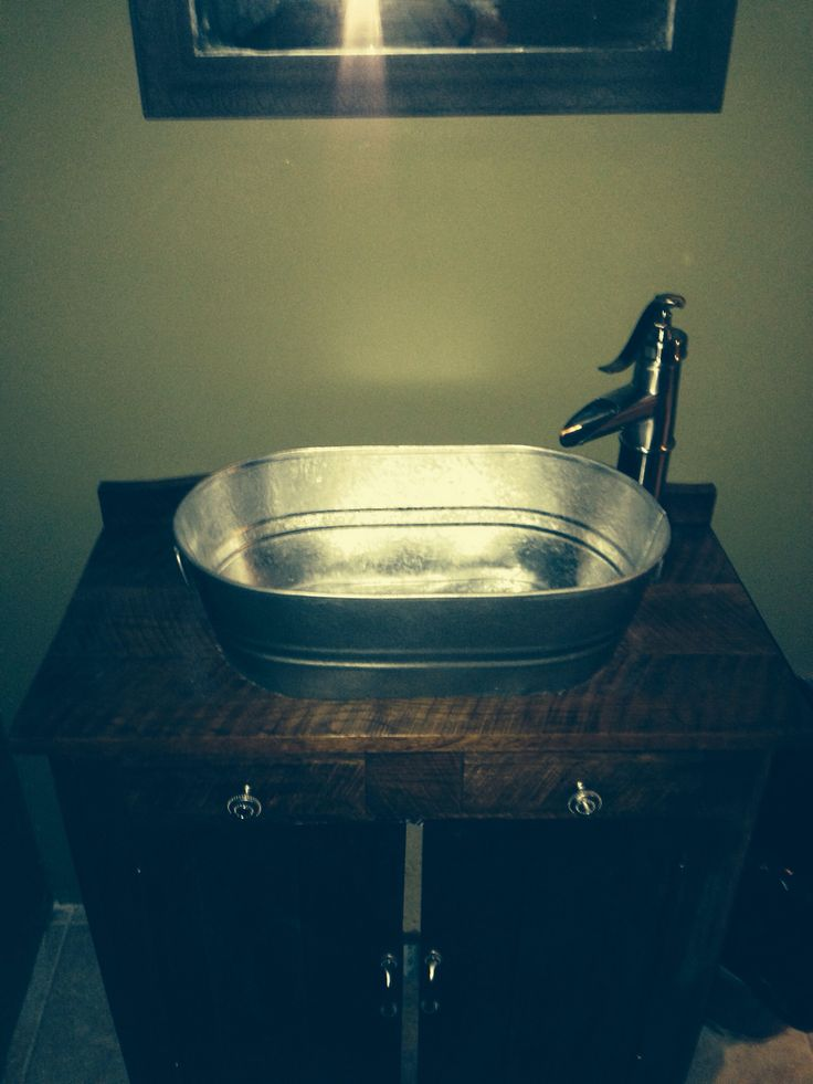 Diy Old Dry Sink With A Galvanized Washtub As The Sink And