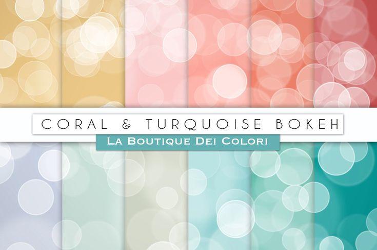 Coral & Turquoise Bokeh Papers by La Boutique dei Colori on @creativemarket