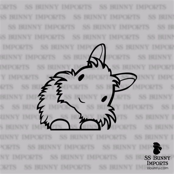 Peering cute head tilt lionhead bunny decal; rabbit car sticker / laptop sticker / phone vinyl sticker, glossy black