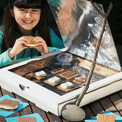 Solar S'mores: Make a solar oven with a recycled pizza box lined with aluminum foil. It's a snack and a craft project ...