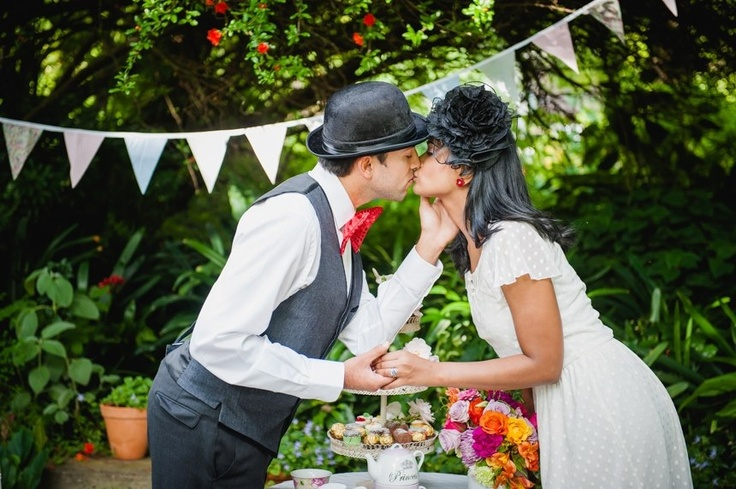 Whimsical tea party engagement shoot