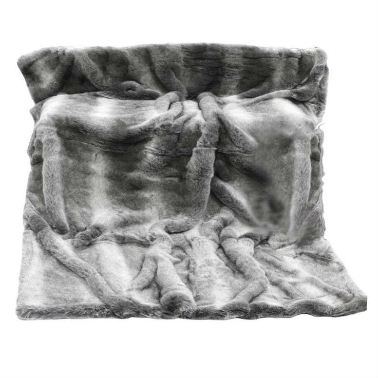 Arctic Wolf Faux Fur Throw in Coloured Grey - Casafina