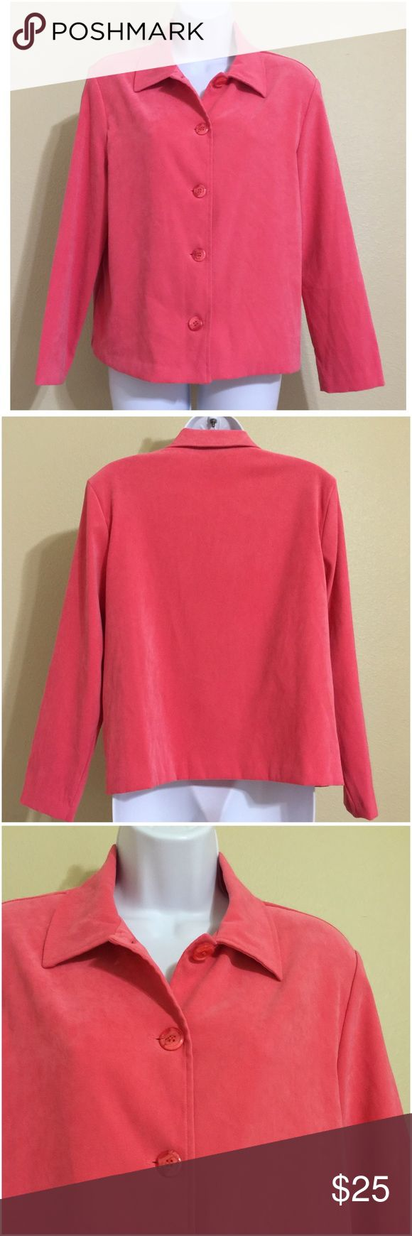 "Briggs Petite Blazer Jacket Size PM • Coral • Removable Shoulder Pads • Machine Wash • Polyester Spandex Blend • 20"" Pit to Pit • 22"" Length • 17"" Shoulder Width • 21"" Sleeve Seam to Cuff Briggs Jackets & Coats Blazers"
