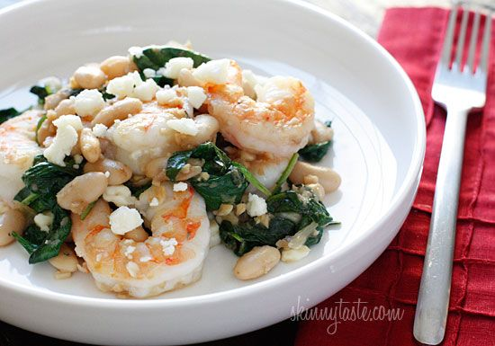 Tuscan White Beans with Spinach, Shrimp and Feta: White Beans Dinners, Baby Spinach Recipe, Healthy Shrimp Dinners, Made, Cooking Tips, Tuscan White, Food Recipe, Mr. Beans, Spinach And Shrimp
