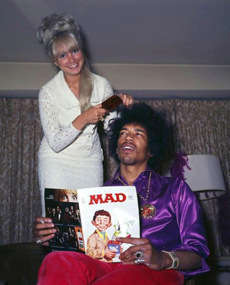 Normally I dont venture this far into the 60's but this is just a super cool photo. Jimi Hendrix having his hair done whilst reading Mad magazine.