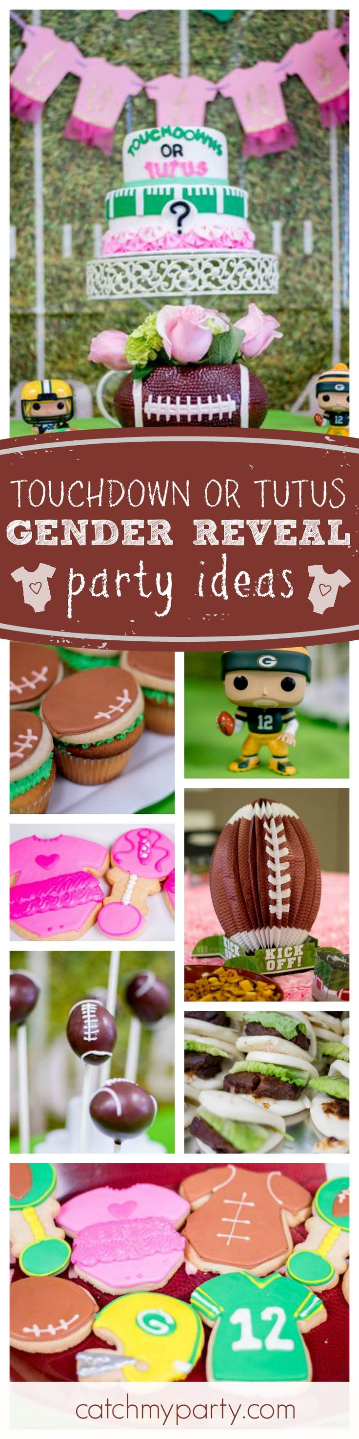Check out this fantastic Touchdown or Tutus Gender Reveal party! Love the football cake pops!! See more party ideas and share yours at CatchMyParty.com