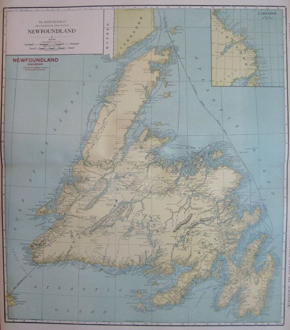RARE Antique NEWFOUNDLAND Map with RAILROAD by plaindealing, $35.00