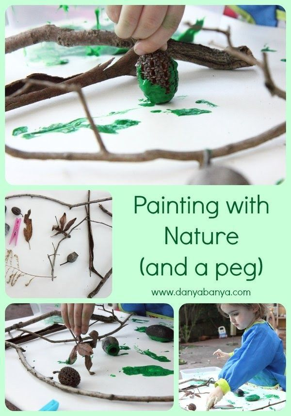 Painting with Nature (and a peg). Great activity for older toddlers and preschoolers. There are so many things that you can use to paint with from your own backyard. Challenge the kids to see what they can find! ~ Danya Banya
