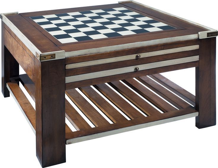 Features:  -Cherry wood top.  -Park rule books and cartons on the lower level.  -With Convertible Top with Ivory Accents.  -Has chess and checkers game.  Game Type: -Chess/Checkers.  Shape: -Square.