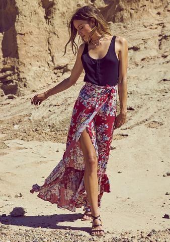 Beach House Wrap Maxi Skirt Bambi Bloom Cherry