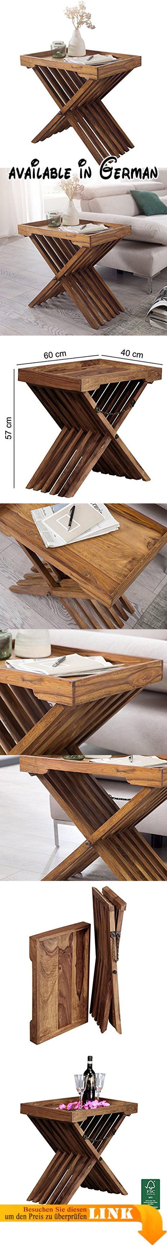 B01J3GP2UO WOHNLING Beistelltisch Massivholz Sheesham Design Und Tisch Gestell Klappbar Mit Kette Landhaus Stil Wohnzimmertisch Echt Holz Dunkel Braun