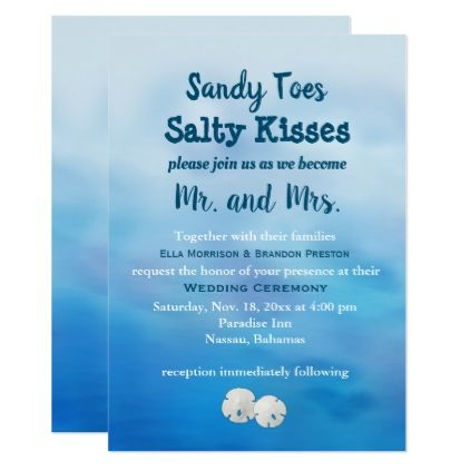 Watercolor Sandy Toes Wedding Invite sand dollars - invitations custom unique diy personalize occasions
