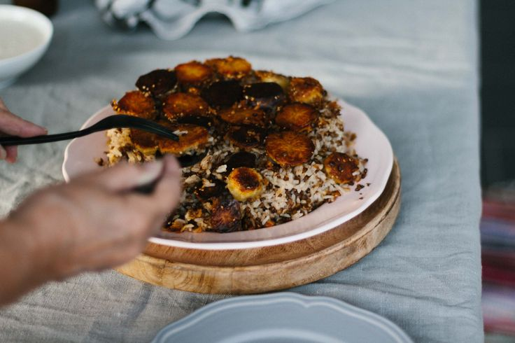 Persischer Linsen-Reis mit Tadig & Ofengemüse - vegan - gluten free |Persian Rice - pumpkin - beetroot - caraway - lentils
