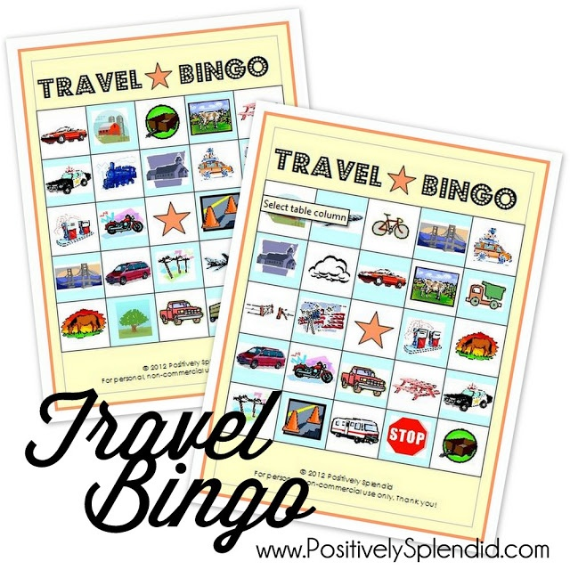 Travel Bingo free printables. Perfect for entertaining kids on road trips!