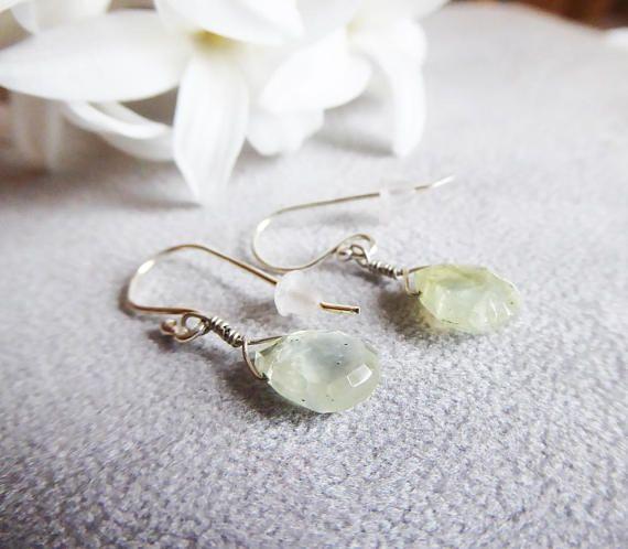 Pale green faceted prehnite gemstones earrings in sterling silver #handmade #etsyuk #etsyfinds