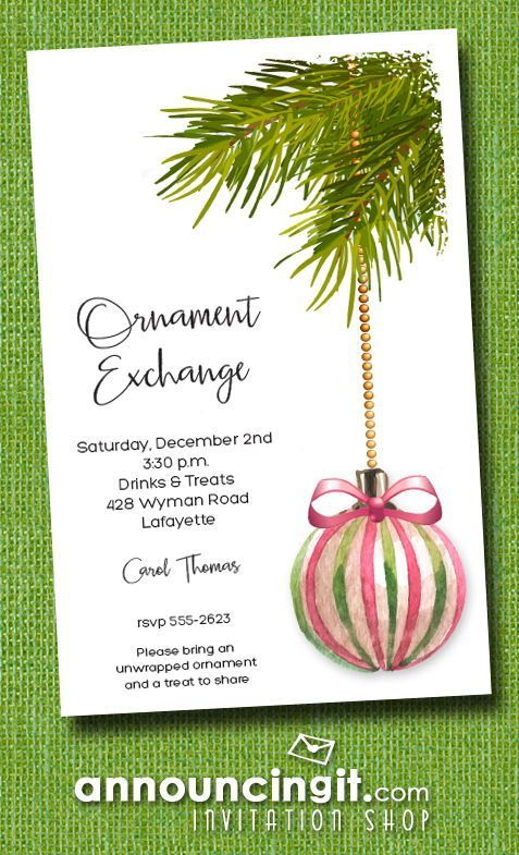 pink green ornament holiday invitations in 2018 christmas and