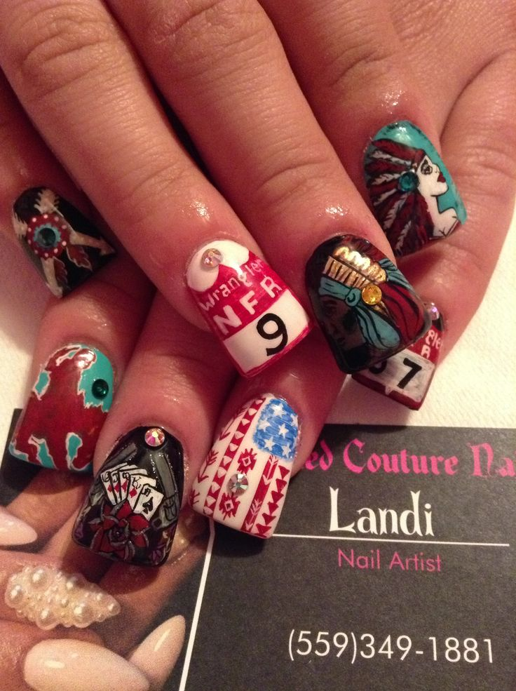 WOW! look at those NFR nails! no stickers even!!  #nailsbylandi