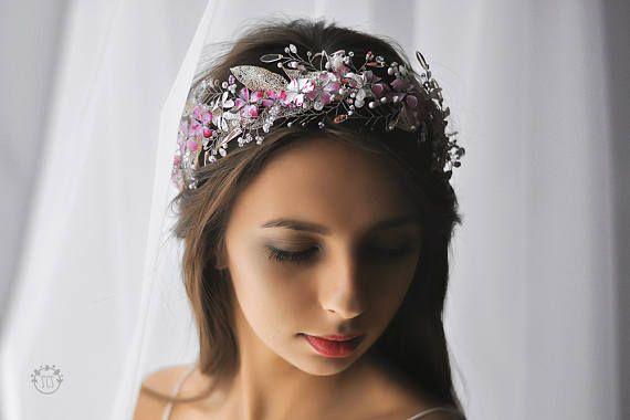 Белый свадебный венок на голову, украшение из бусин цвета розовый фуксин, цветочный венок, диадема из кристалла, головной убор невесты, лоза
