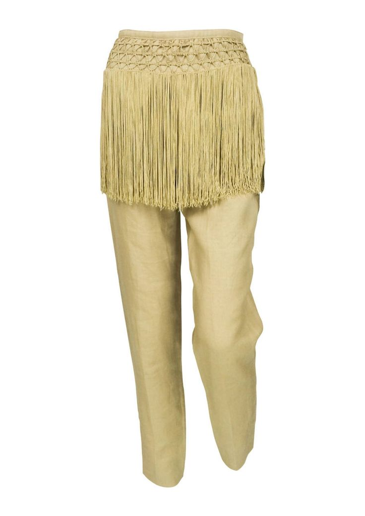 Valentino Fringed Linen Trousers - Early 1990s via House of Pre-Loved - Vintage Boutique. Click on the image to see more!