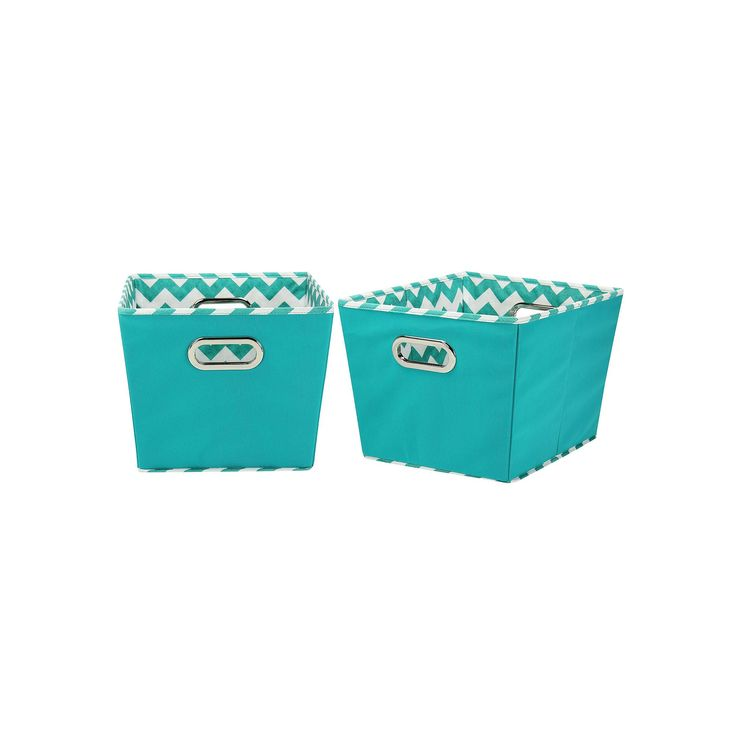 Household Essentials Chevron 2-pk. Collapsible Storage Bins - Small, Turquoise/Blue (Turq/Aqua)
