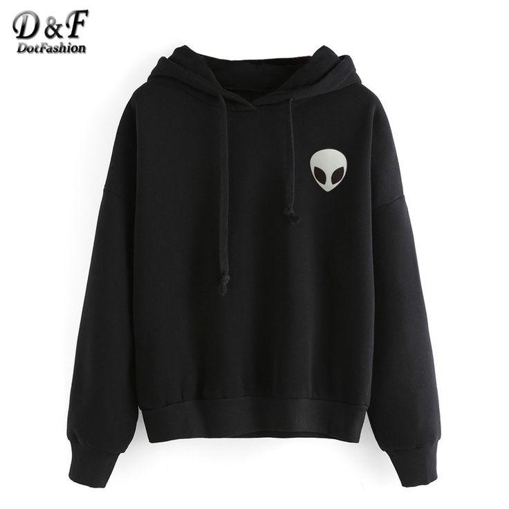 Dotfashion Casual Wear Pullovers Women Clothing Alien Print Hooded Long Sleeve Fashion Sweatshirt