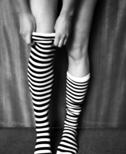 I loved striped tights, striped knee high socks and most of all - striped thigh high socks. :)