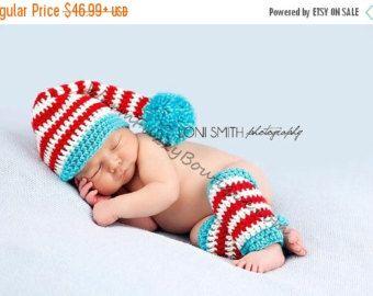 SALE Baby Stocking Elf Long Tail Pompom Hat & Leg Warmers - Crochet Newborn Beanie Boy Girl Costume Christmas  Photo Prop Cap Outfit