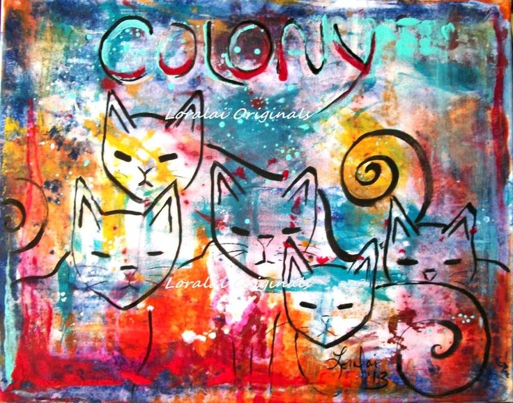 CAT COLONY Original Painting Kitten Rescue Shelter CHARITY Folk Art Loralai #FolkArt
