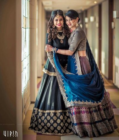 blue lehenga, bride with sister, sister of the bride, matching bride and…