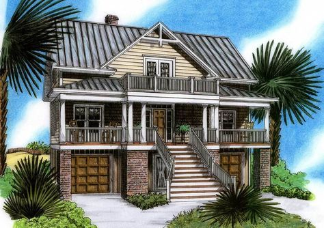 Raised Beach House Delight - 15019NC Architectural Designs - House