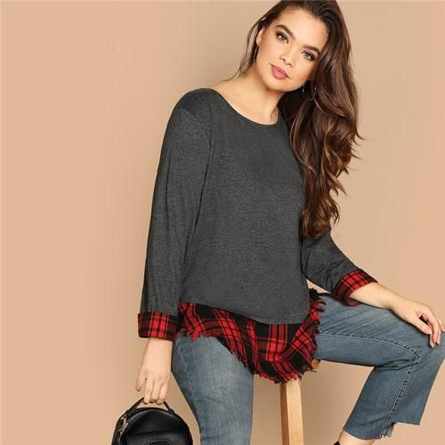 Plus Size Frayed Edge 2 In 1 Top Tees Spring Regular Fit Loose Plaid Splicing Long Sleeve Casual Going Out Tshirt Gray XXL