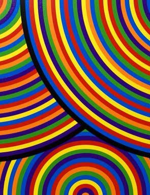Sol LeWitt, Bands of Equal Width in Color (The Wadsworth Portfolio), 2000 (detail), from a set of 8 linocuts. Edition of 75, 29 x 29 inches each.